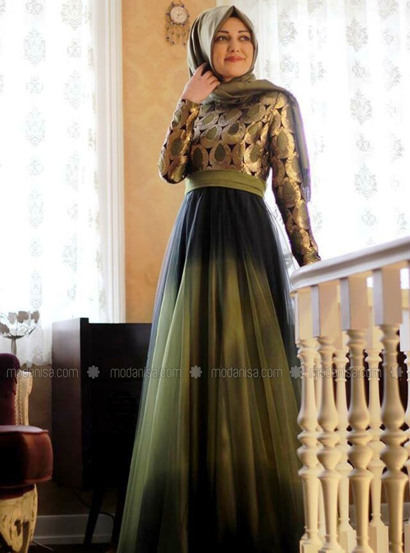 Gaun Brokat Kombinasi Satin Proyek Untuk Dicoba Desain Gaun