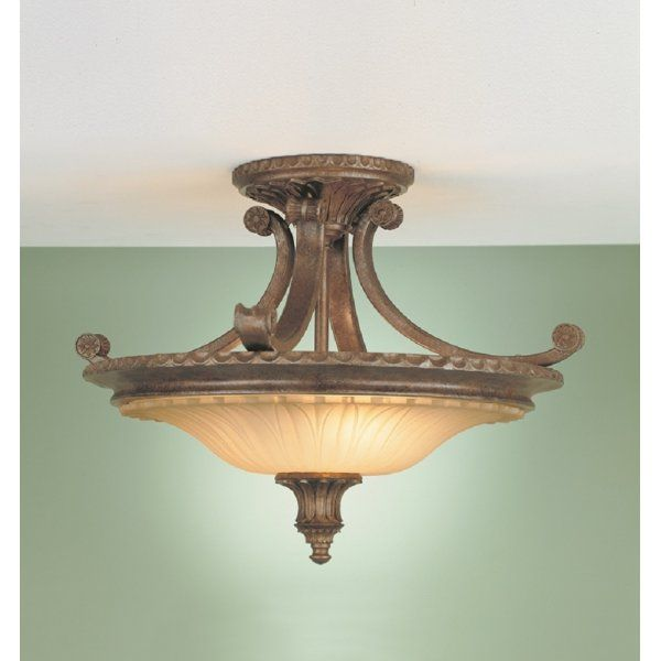 Stirling Castle Traditional Bronze Semi Flush Uplighter Ceiling Light