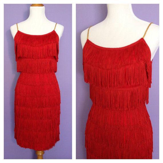 8d3c0eadb3 Show Stopping 1950's Vintage Red Fringe Dress - 50s Shimmy Dress - by Hi-Fi  Vintage