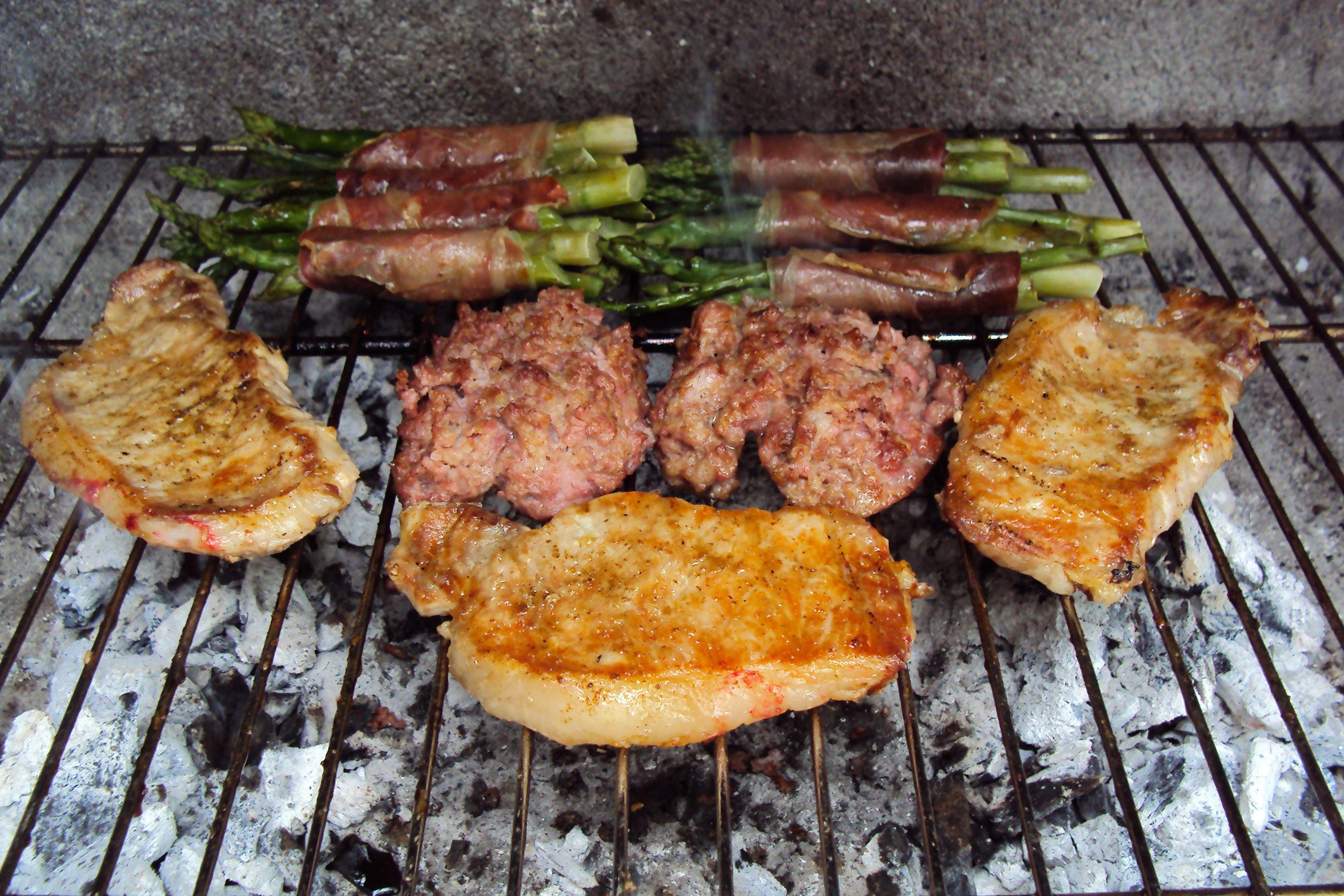 Pork, salcicca and prosciutto wrapped asparagus