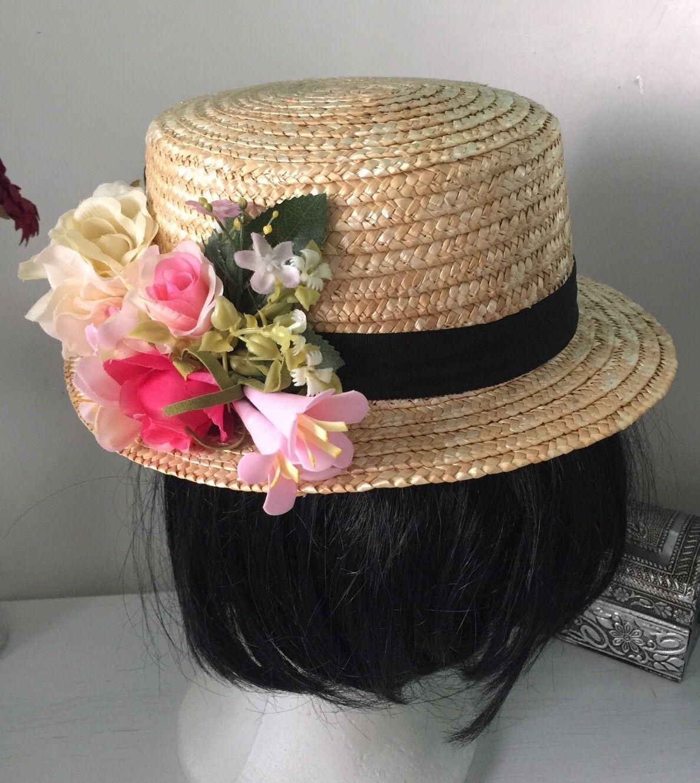 c2496c543b3c Detalles de Sombrero Mujer Canotier Paja Con Flores Fiesta Ceremonia ...