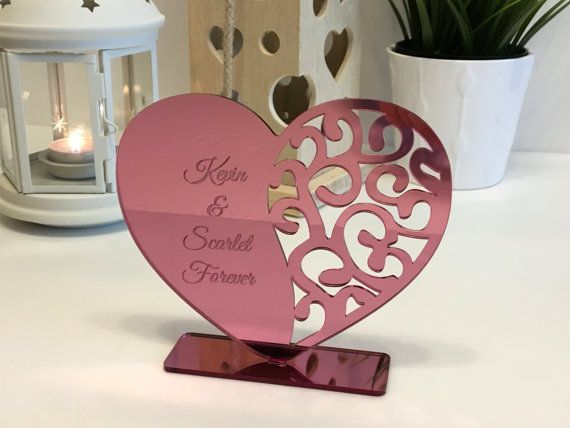 Personalized Heart Decor With Names Wedding Gift For Couple Etsy Valentine Decorations Wedding Gifts For Couples Heart Decorations