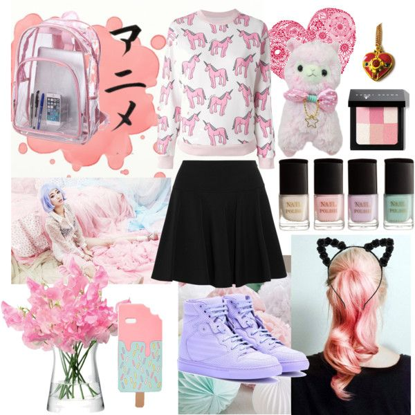 Pastel Kawaii style by vicococeres on Polyvore featuring Au Jour Le Jour, DKNY, Balenciaga, ASOS, Bobbi Brown Cosmetics, H&M and LSA International