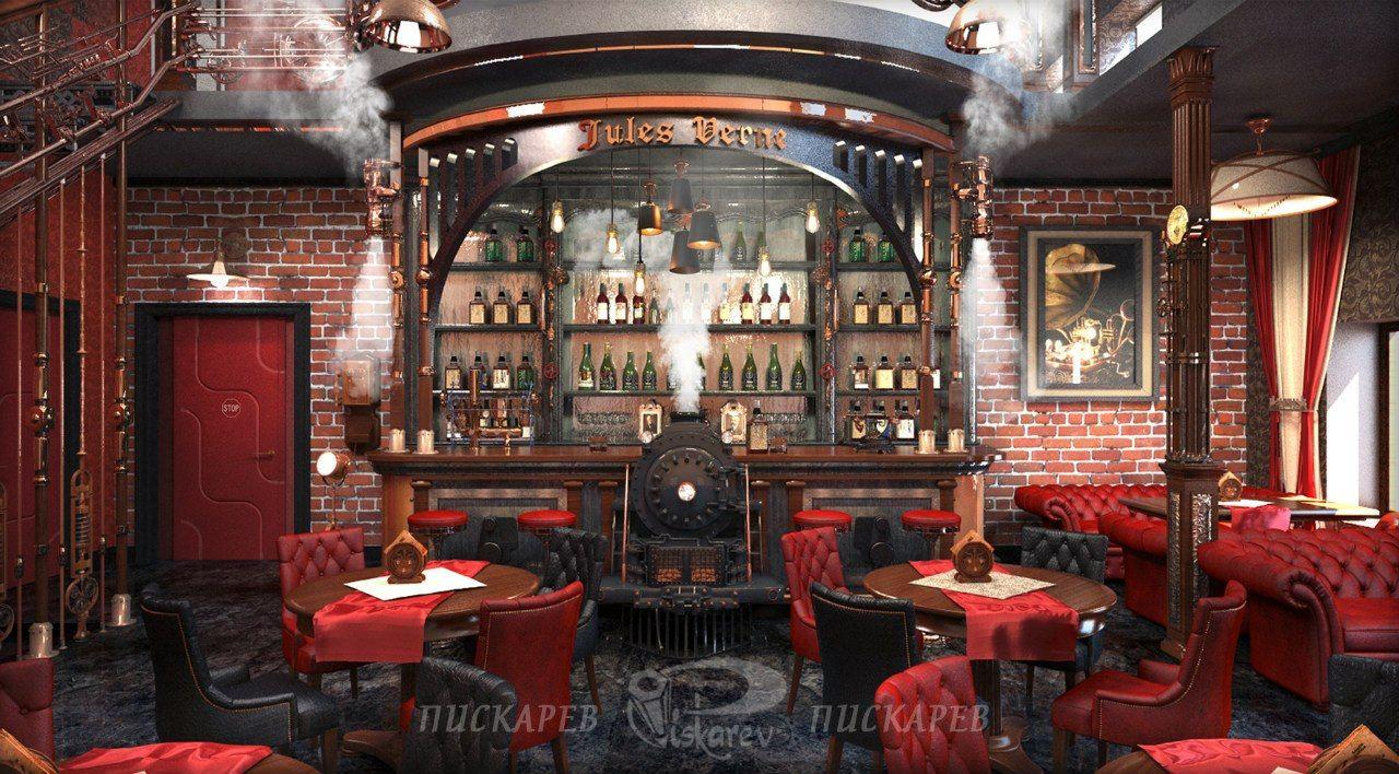 Jules Verne - Restaurant Interior Design - Vladimir Piskariov  Steampunk  CafeSteampunk ...