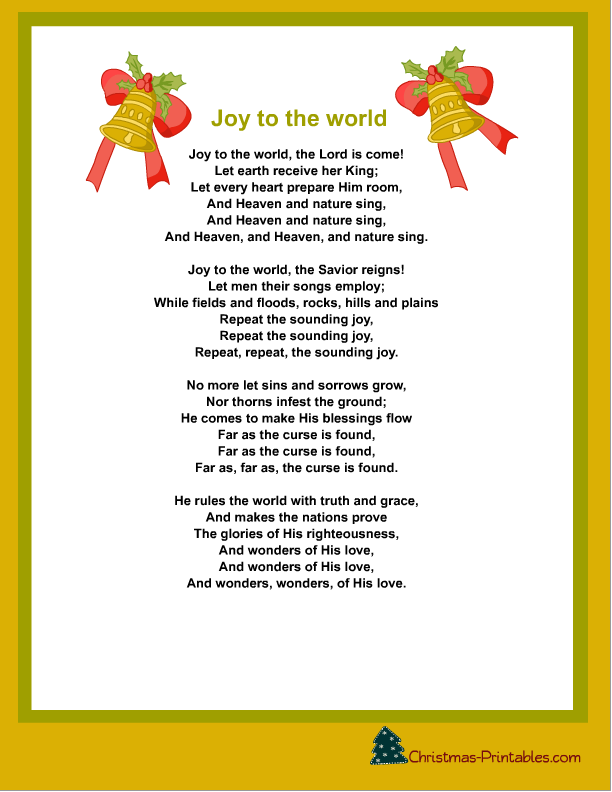 printable joy to the world christmas carol lyrics | Free Christmas ...