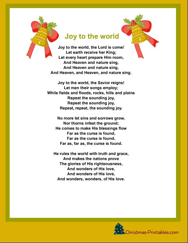 Joy To The World Lyrics.Printable Joy To The World Christmas Carol Lyrics Christmas Lyrics Christmas Carols Lyrics Christmas Songs Lyrics