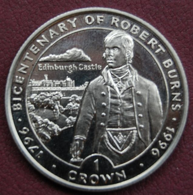 Isle of Man Crown Robert Burns in Masonic Regalia  | Robert
