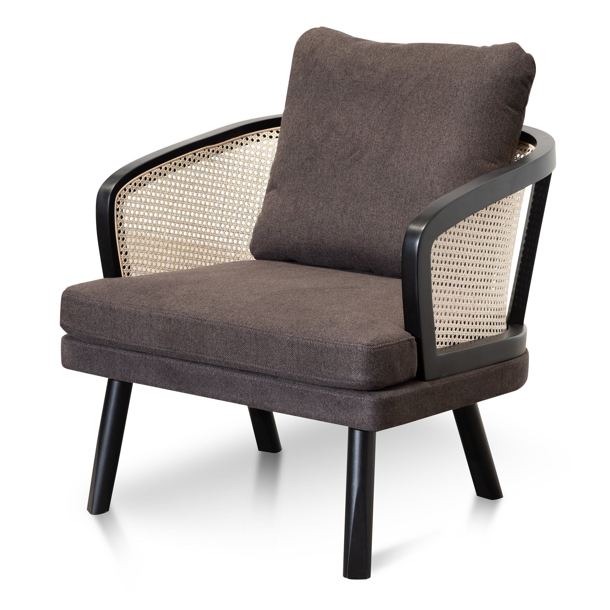 Arline Fabric Armchair Anchor Grey And Natural Rattan In 2020