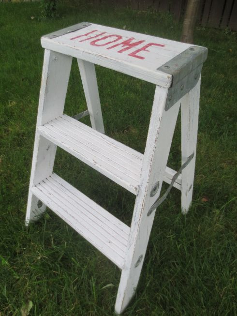 Vintage step ladder with HOME in red. RedBird -- Morris, IL