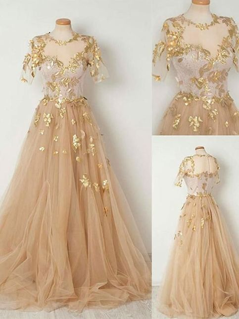 2019 Gold Appliques Champagne Tulle Prom Dresses,A-line Short Sleeves Long Prom Evening Dresses