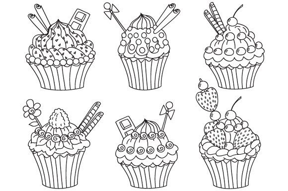 Cupcakes Set Graphics Cupcakes Clipart Digital Vector Cupcake