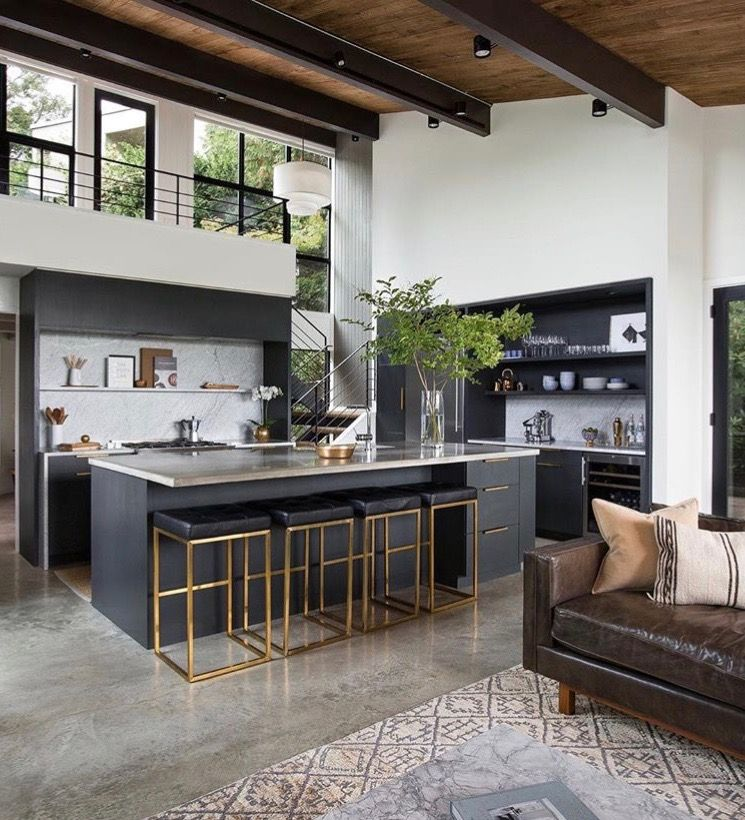 Urban Modern Kitchen Design with Wood and Iron Gray