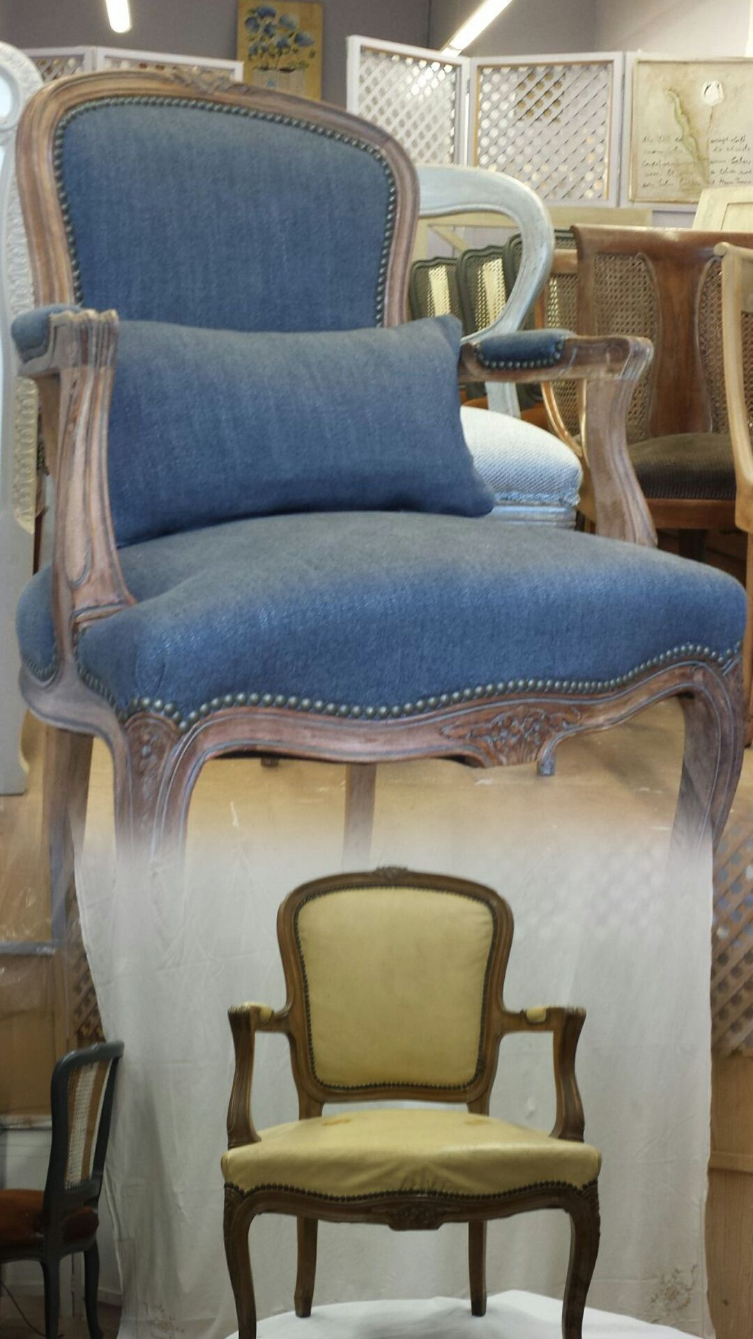 Sill N De Pata Curva Decapado Envejecido Recreando El Estilo  # Muebles Tapizados En Tela