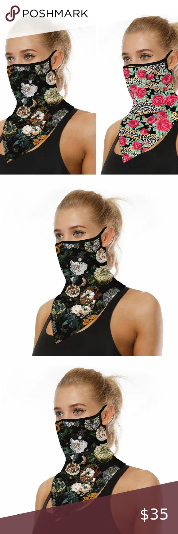 *~*Brand New Face Mask Neck Gaiter Brown /& Orange//Gold Fashion Style Designer*~*