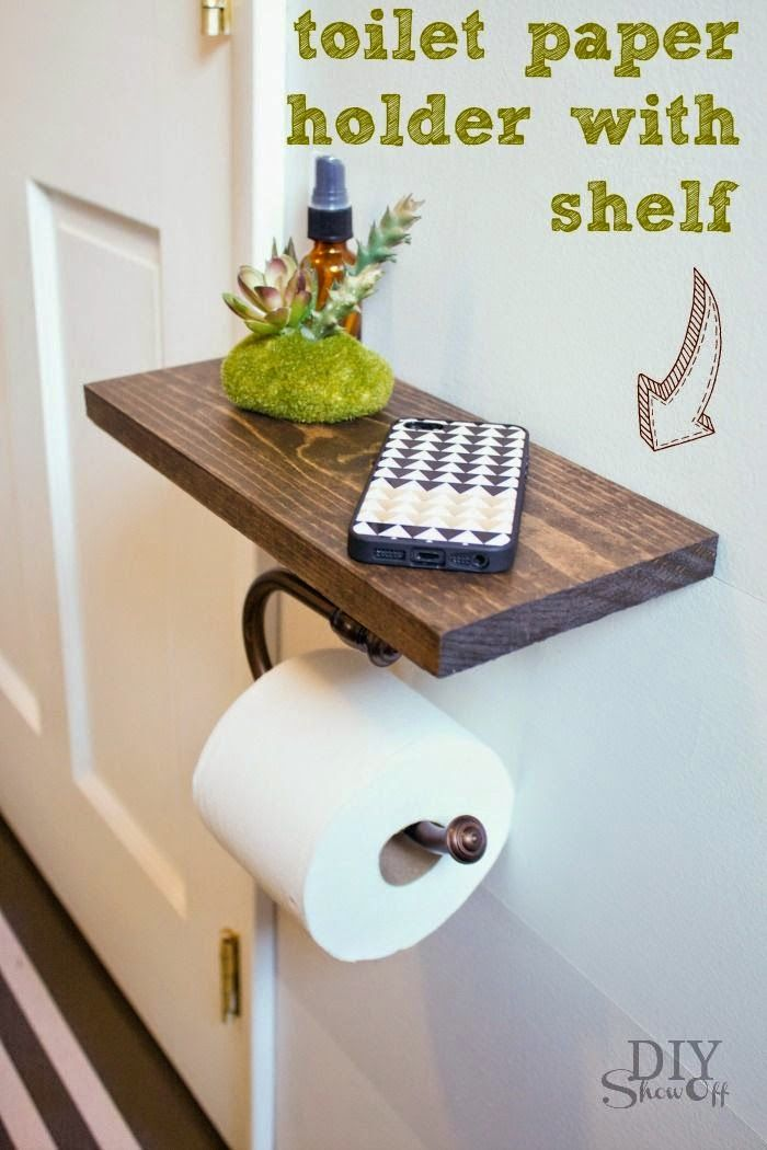 Best DIY Projects: DIY Toilet Paper Holder with Shelf ...