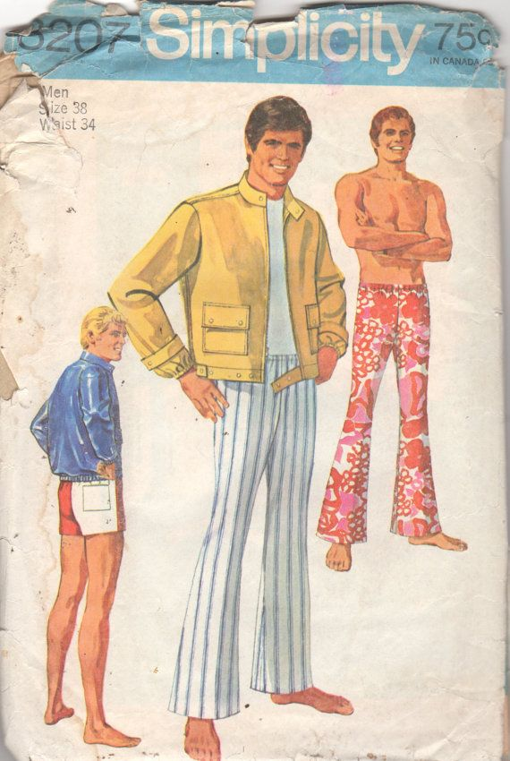 Simplicity 8207 1960s Mens Beachcomber PANTS Shorts Sporty JACKeT ...