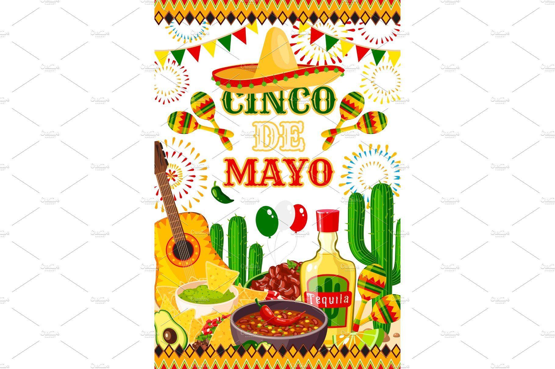 Mexican Cinco de Mayo vector fiesta poster ,