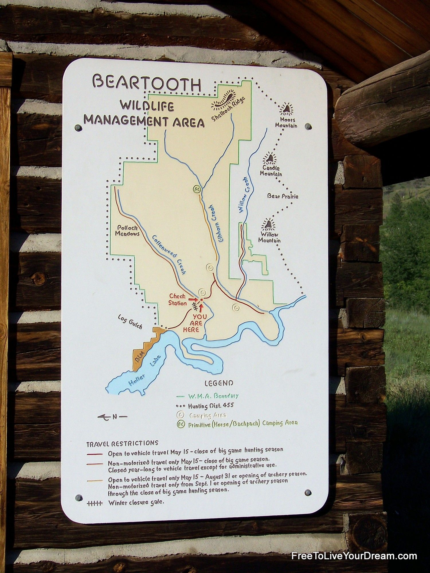 Map for The Beartooth Wildlife Management Area WMA to the North