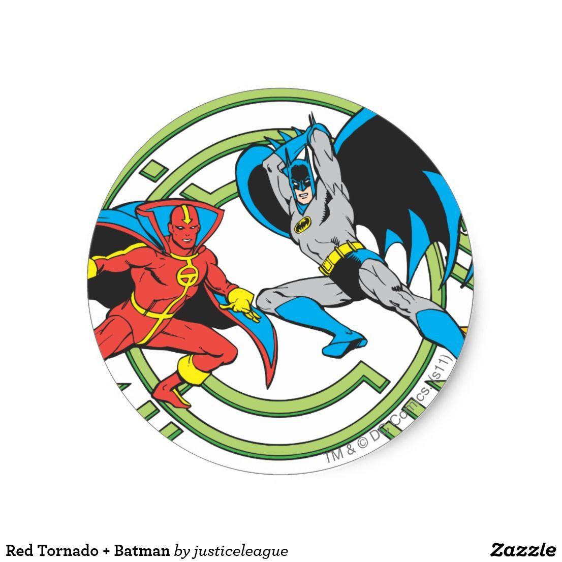 Red tornado batman classic round sticker
