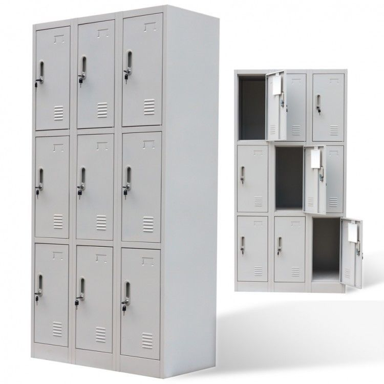 Metal Storage Lockers Gray 9 Door Steel Security Cabinet Bin Break Room Business Metal Lockers Locker Storage Industrial Storage