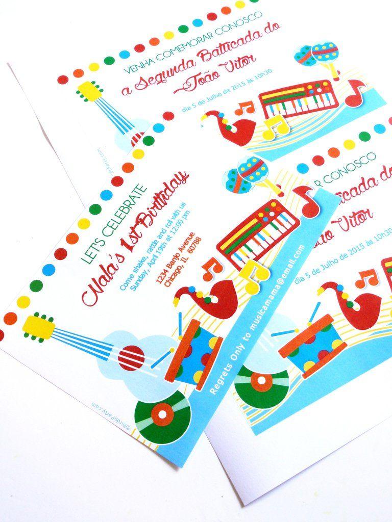 Music Birthday Jam Party Printable Invitations   Birthdays, Birthday ...