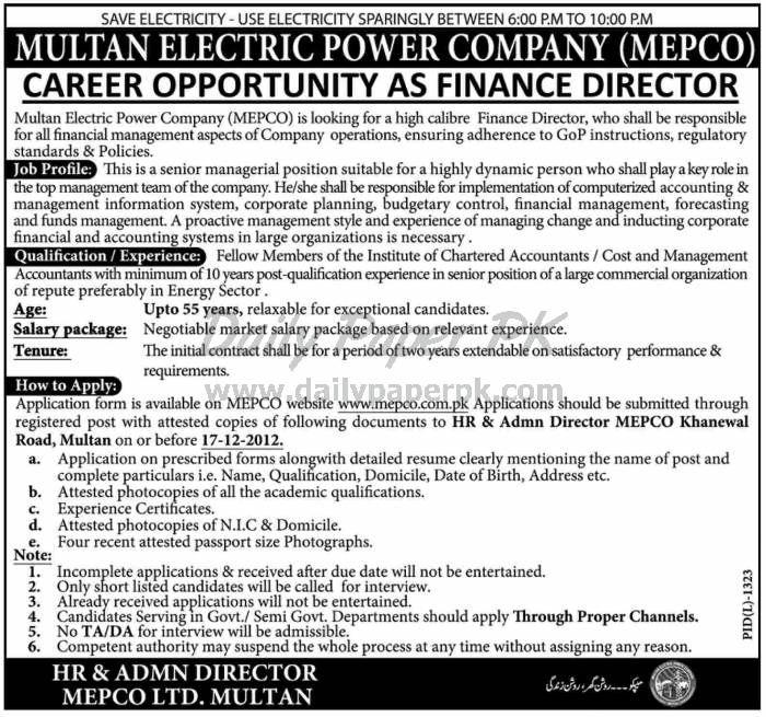 Career Opportunity In Multan Electric Power Company Daily - finance director job description
