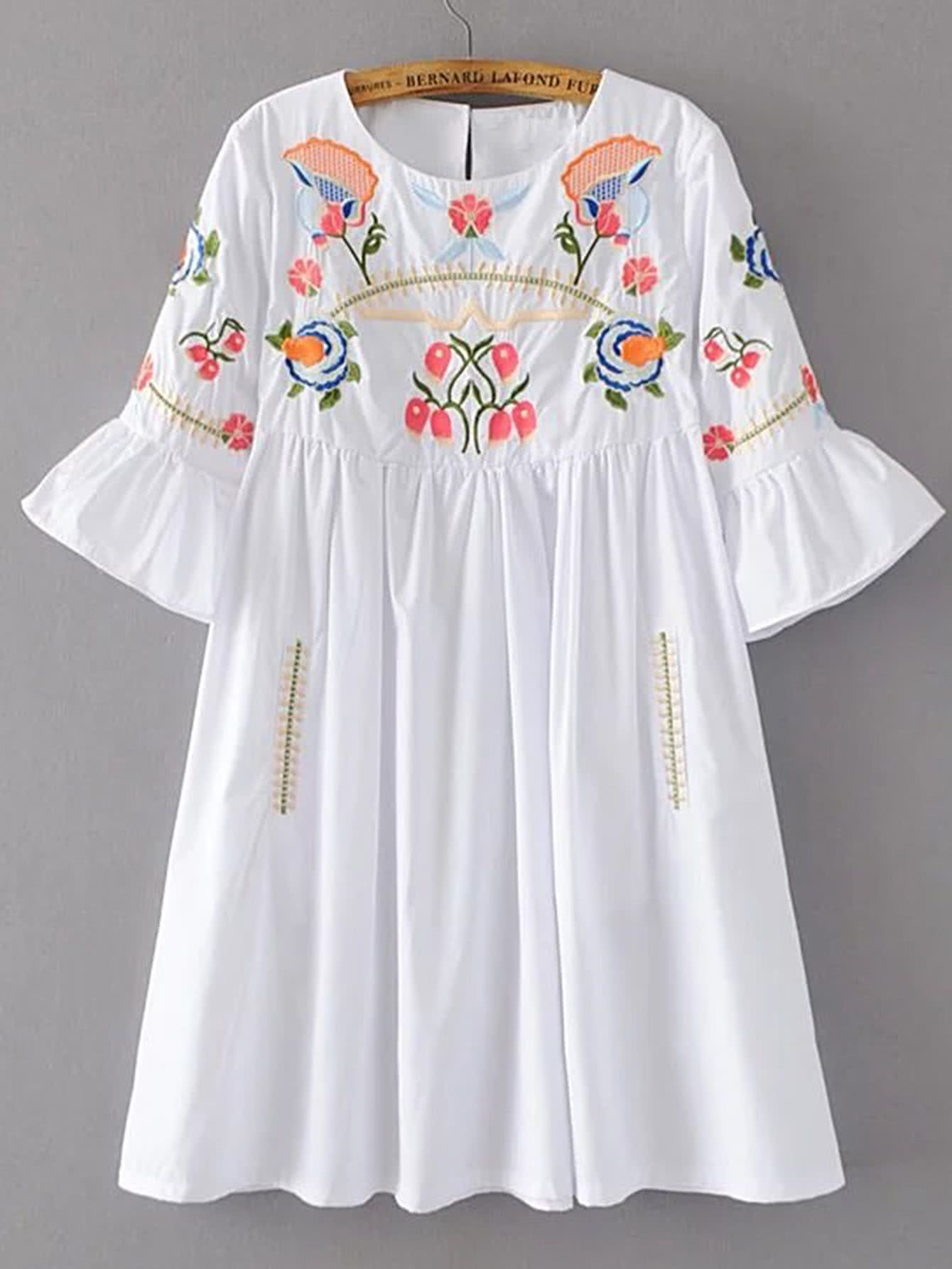 91ff27b144 Shop Bell Sleeve Flower Embroidery Dress online. SheIn offers Bell Sleeve  Flower Embroidery Dress & more to fit your fashionable needs.