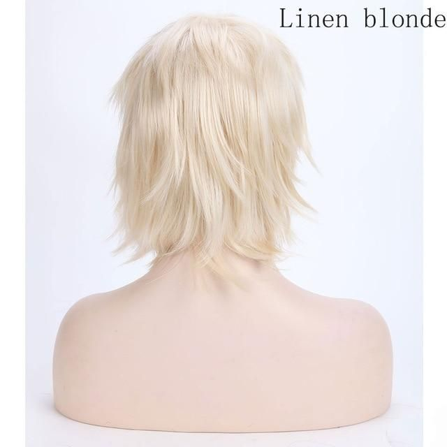 Photo of Short Cosplay Wig Anime Hair Red With Bangs For Party – light blonde / 12inches / United States