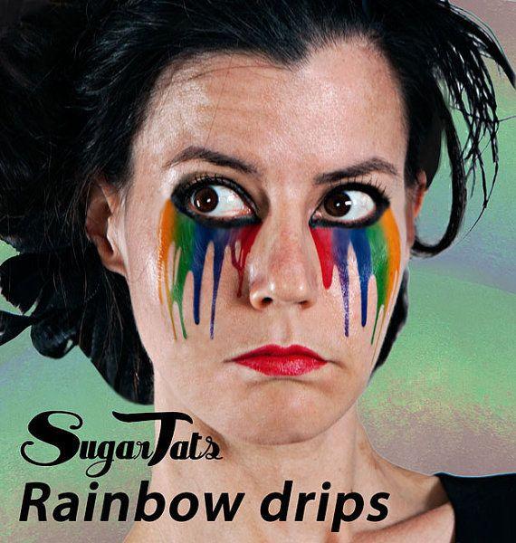 2ccd9c73a Thess trippy rainbow tear streaks.   23 Temporary Tattoos That Make  Halloween Makeup Easy