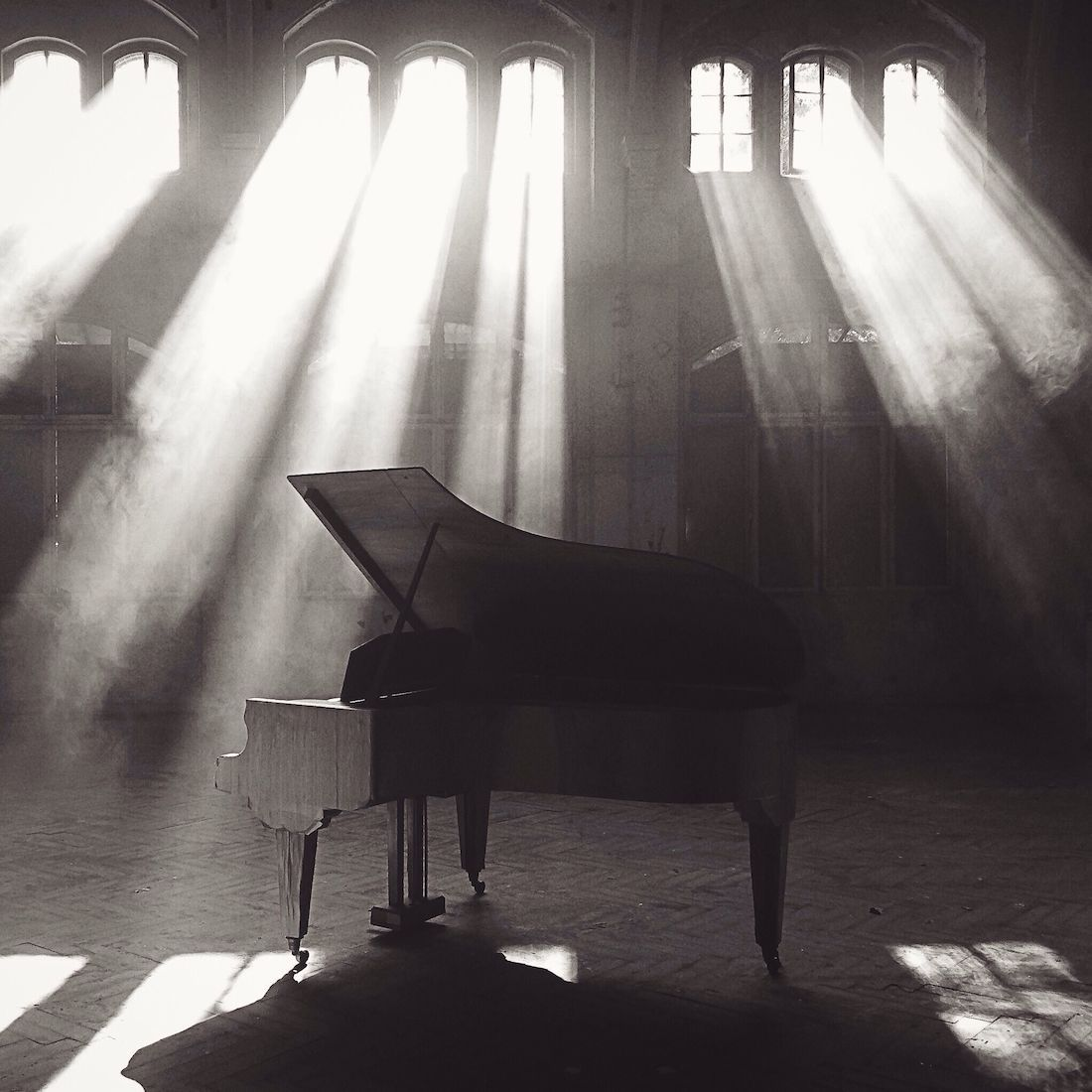 Sunlight beating on the piano