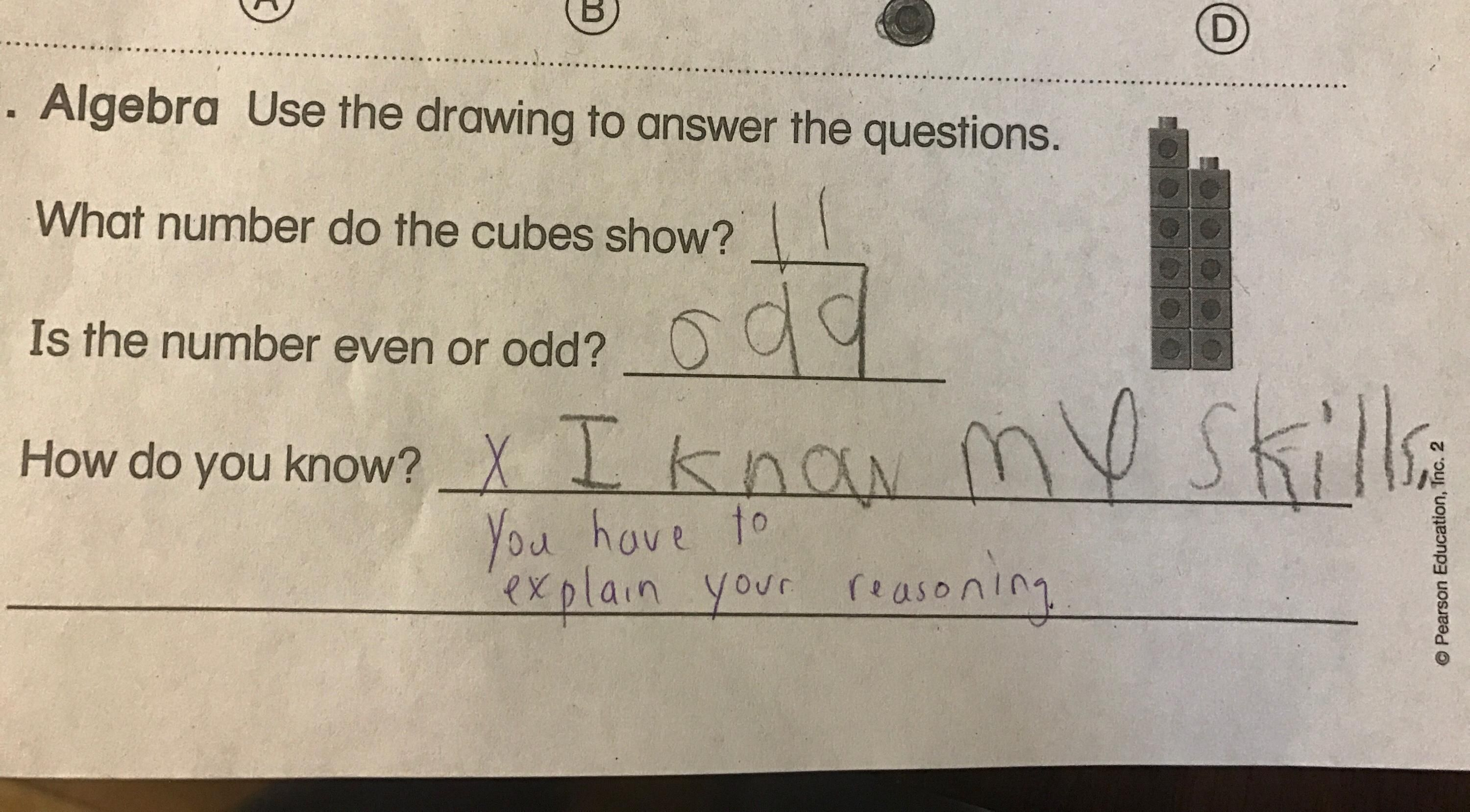 My 7 year old sister\'s math test. \