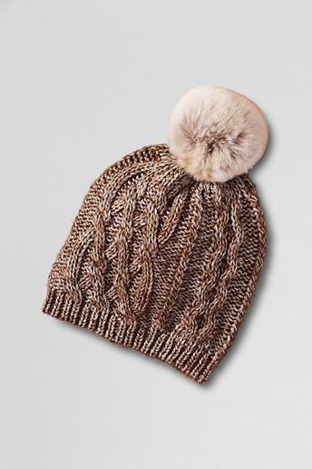 Lands  End Women s Fur Pom Aran Knit Hat 895e3550c958