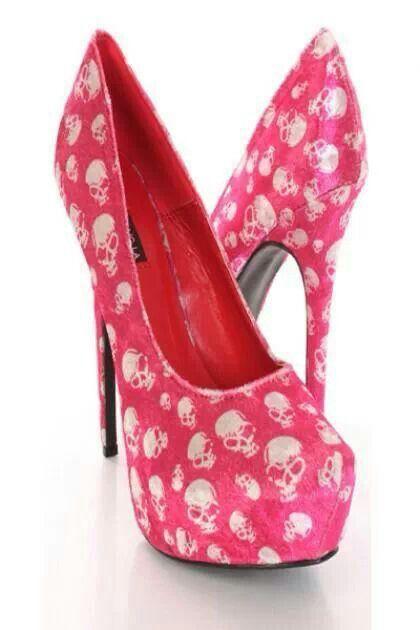 Fuchsia Soft Velvet Skull Printed Sexy Closed Toe Heels | okay ...