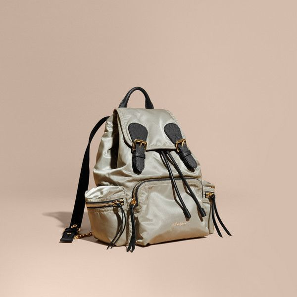 Burberry The Medium Rucksack in Technical Nylon and Leather (£990) ❤ liked on Polyvore featuring bags, backpacks, embroidered backpacks, pink leather backpack, military rucksack, military backpacks and light weight backpack