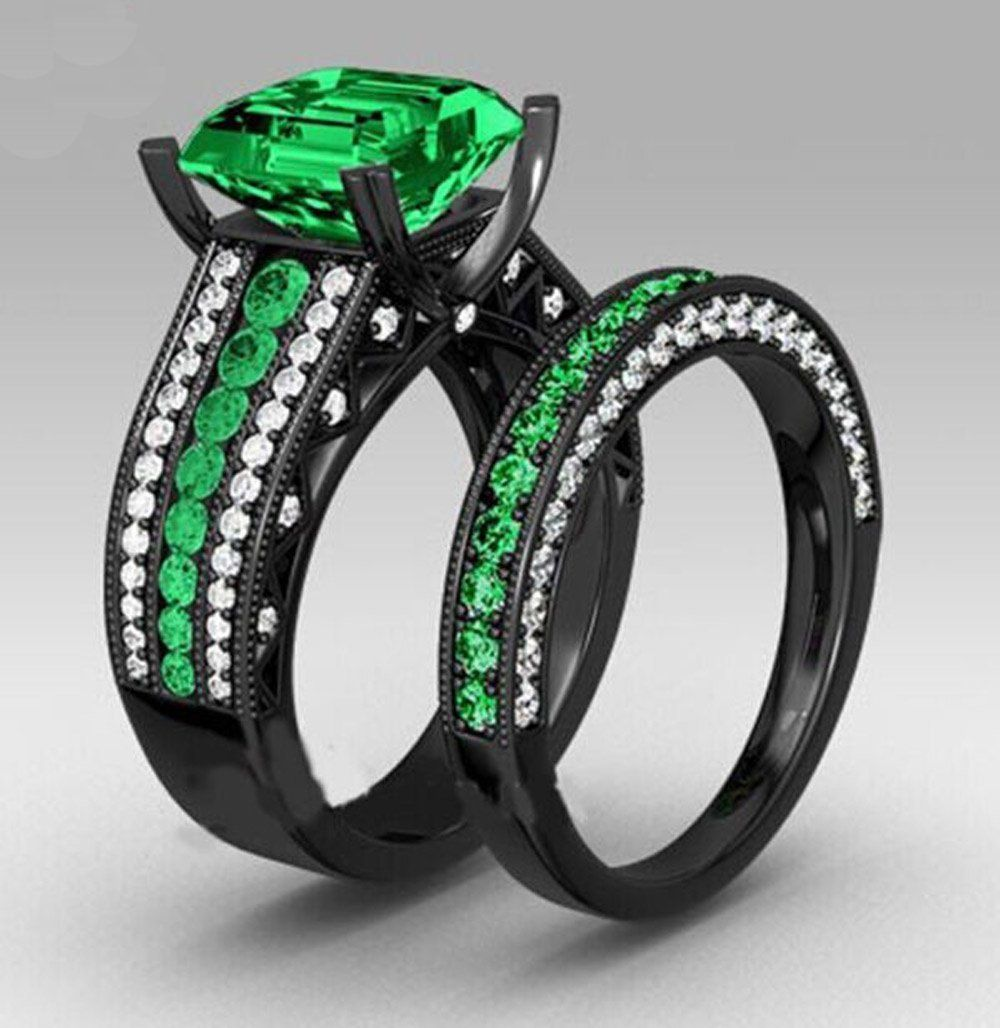 6.8ct Black Gold Ring Sets Black wedding ring