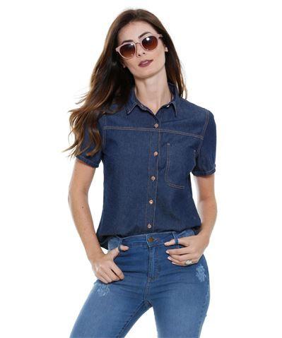 457509b17 Camisa feminina Jeans manga curta bolso Marisa
