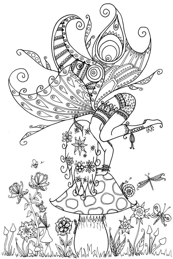 Fairy on a toadstool by welshpixie deviantart fairy myth for Mythical coloring pages for adults