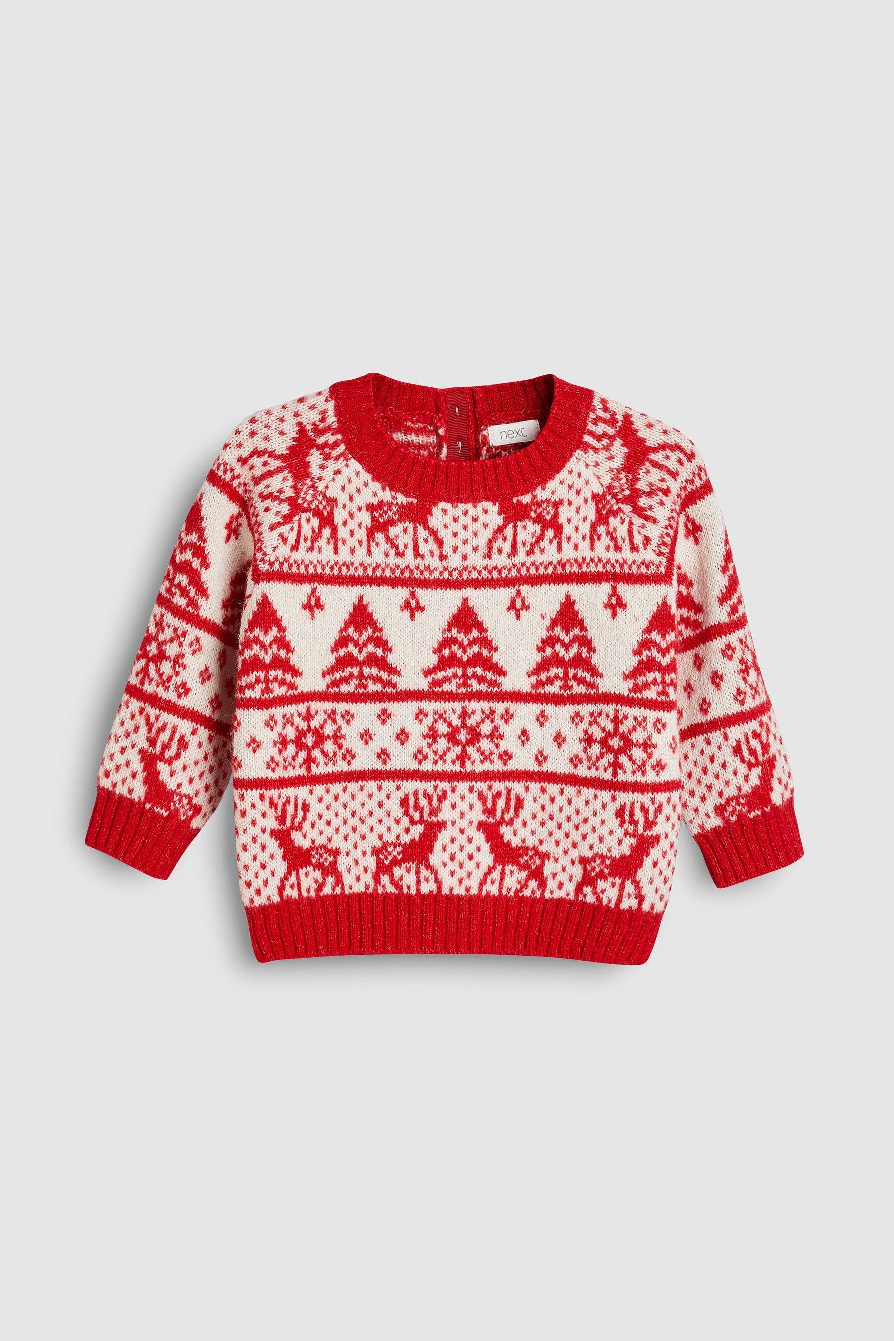 Next Christmas Jumpers.Girls Next Red Fairisle Christmas Jumper 3mths 6yrs Red