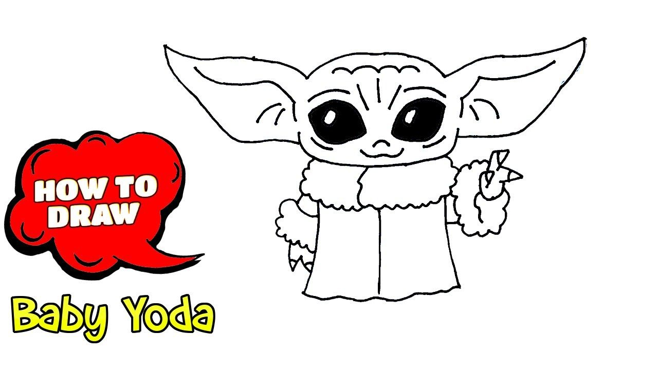 How To Draw Baby Yoda Easy Drawing With Pen Easy Drawings Baby Drawing Pen Drawing