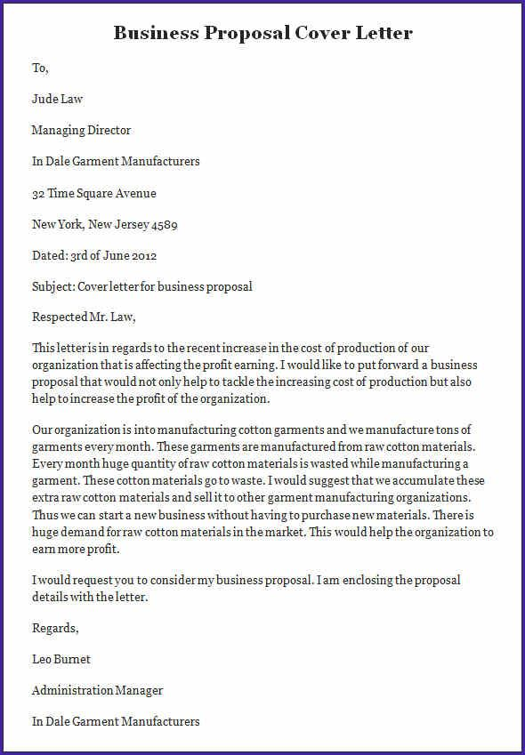 sample business proposal letter template cover example page Home - cover letters samples