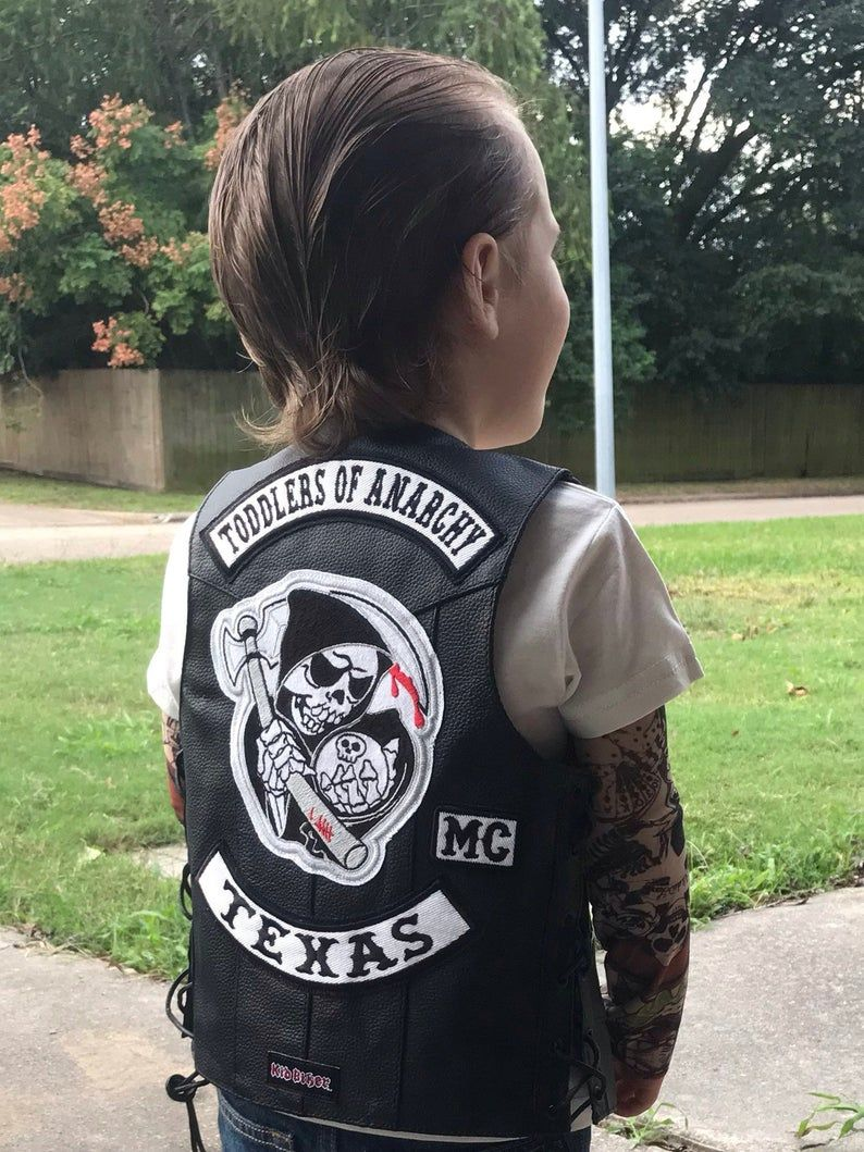 Toddlers Of Anarchy Leather Vest And Patch Set Sons Of Anarchy Fan Kids Motorcycle Leather Vest Embroidery Patches Harley Davidson Kids Kids Motorcycle Harley Davidson Kids Sons Of Anarchy Costume