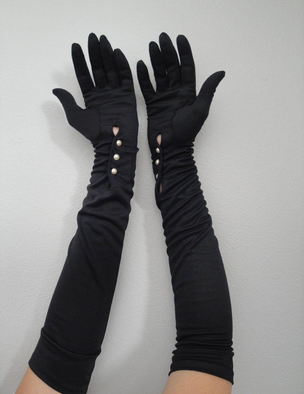 Fingerless gloves eso - Vintage 1950s Long Black Gloves 24 00 Via Etsy