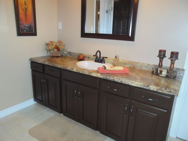 good bye oak cabinets behr paint in french roast - Behr Paint Kitchen Cabinets
