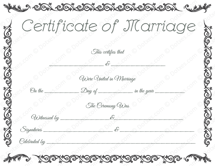 free printable marriage certificate template royal