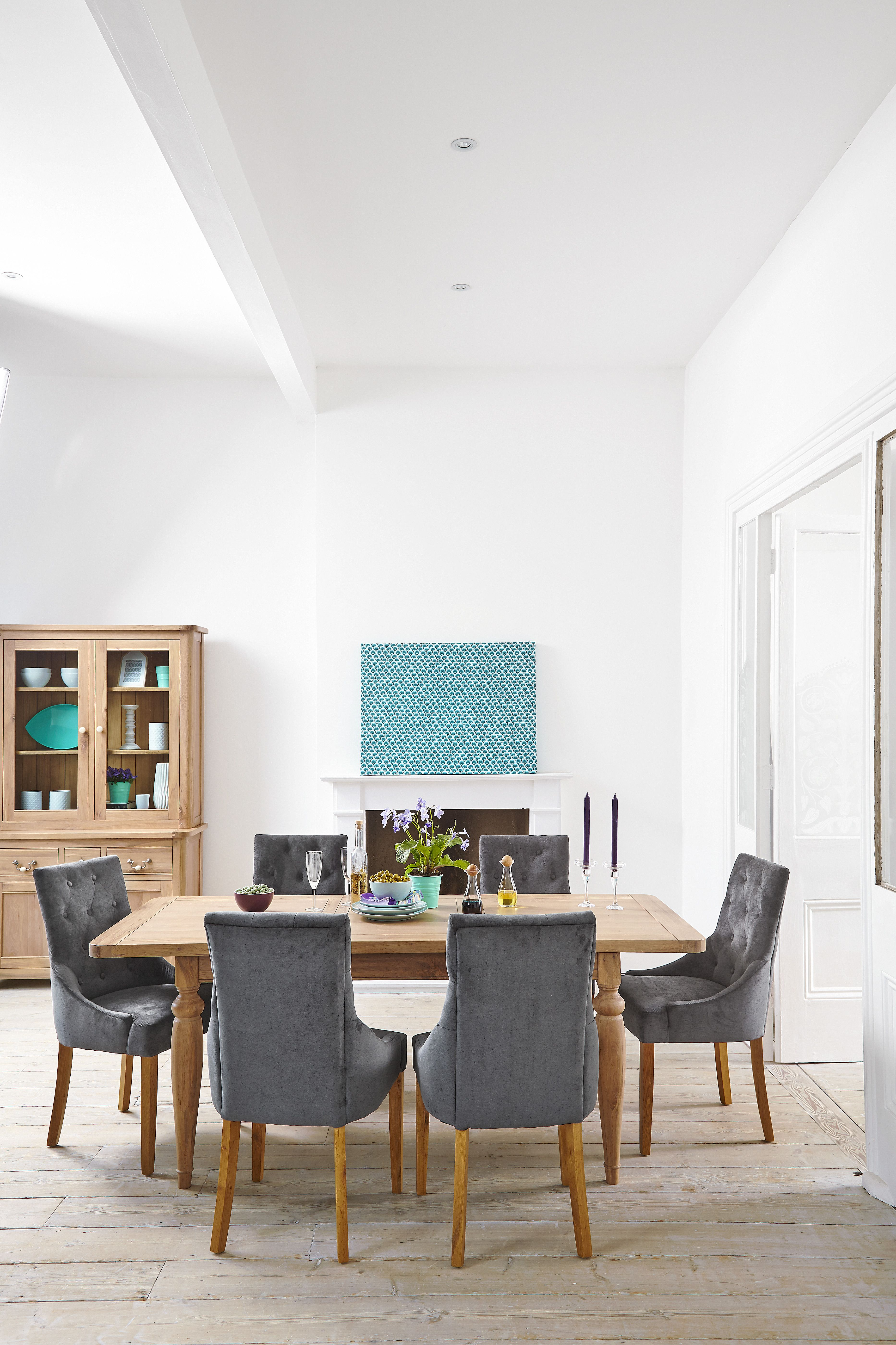 Florine Extending Dining Table Made From Both Solid And Veneered Oak Paired  With 6 Katya Chairs