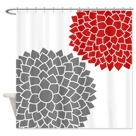 Zen Flowers Gray Red Shower Curtain On CafePress