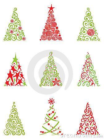 modern Christmas trees - Modern Christmas Trees Clip Art Navidad, Navidad Moderna