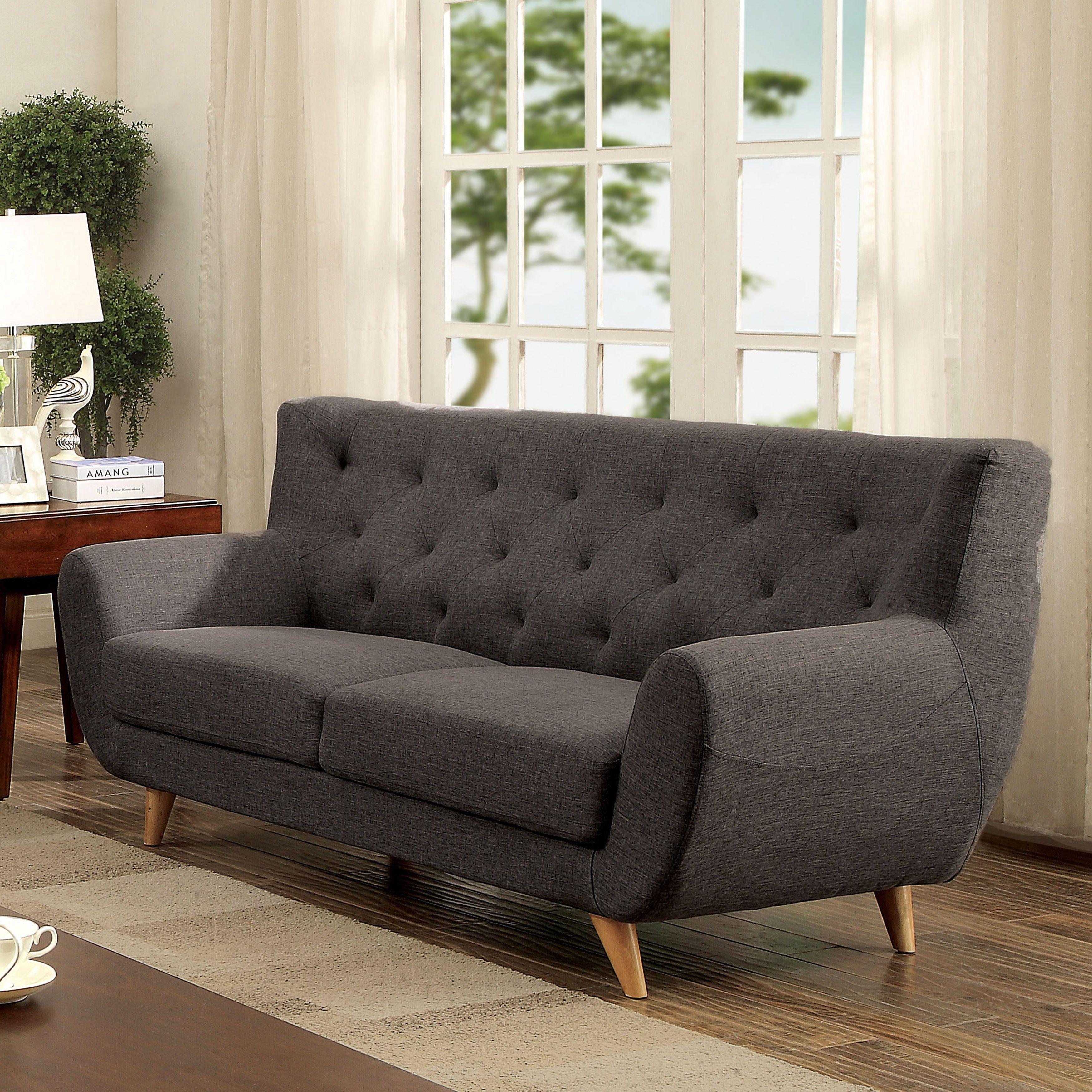 Marvelous Furniture Of America Rina Mid Century Modern Tufted Linen Like Upholstered  Sofa (Light