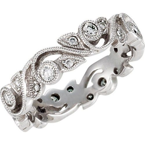 1 4CT Diamond Vintage Antique Ring Filigree Wedding Band Womens Anniversary Stackable Milgrain Style