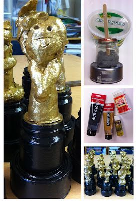 """Make your own Oscar awards. Baby food jar, tuna can, popsicle stick, clay and acrylics. Glitter paint turns them from """"ho, hum"""" into """"WOW""""!"""